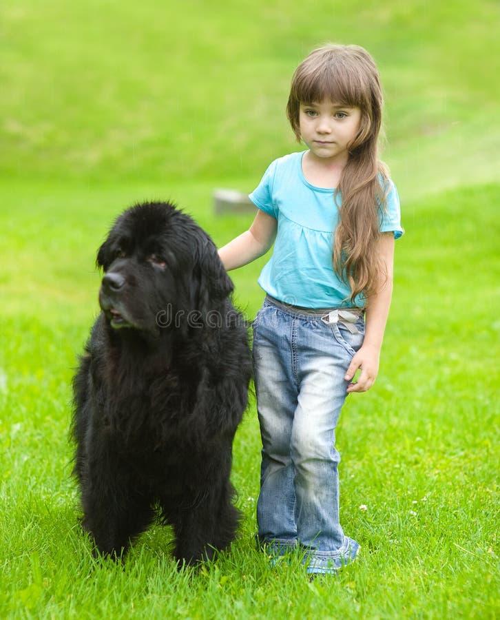 Muchacha que abraza el perro de Terranova imagen de archivo