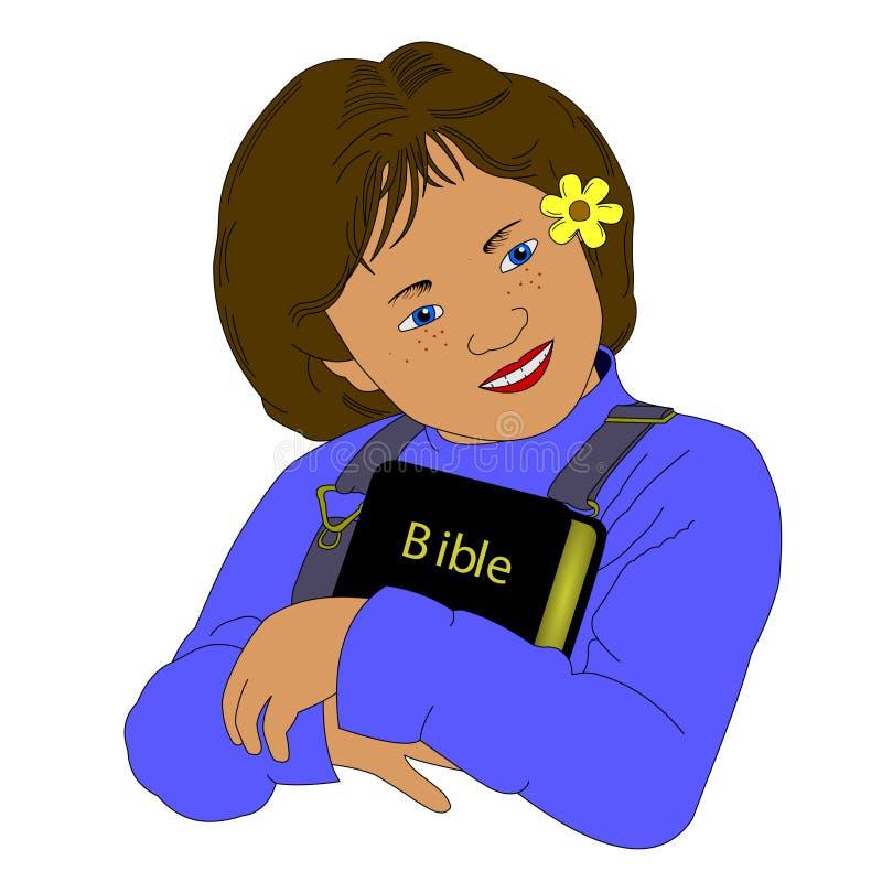 Muchacha que abraza la biblia ilustración del vector