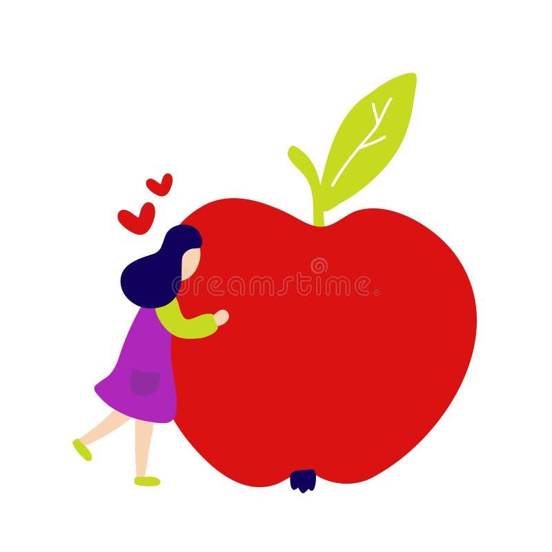 Muchacha que abraza la manzana roja grande libre illustration