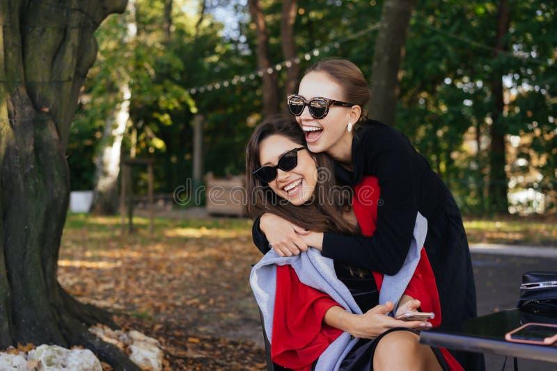 Muchacha que abraza a su amigo Novias del retrato dos en el parque imágenes de archivo libres de regalías