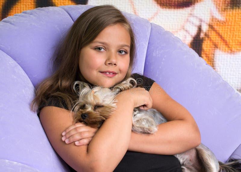 muchacha que abraza un terrier de Yorkshire imagenes de archivo