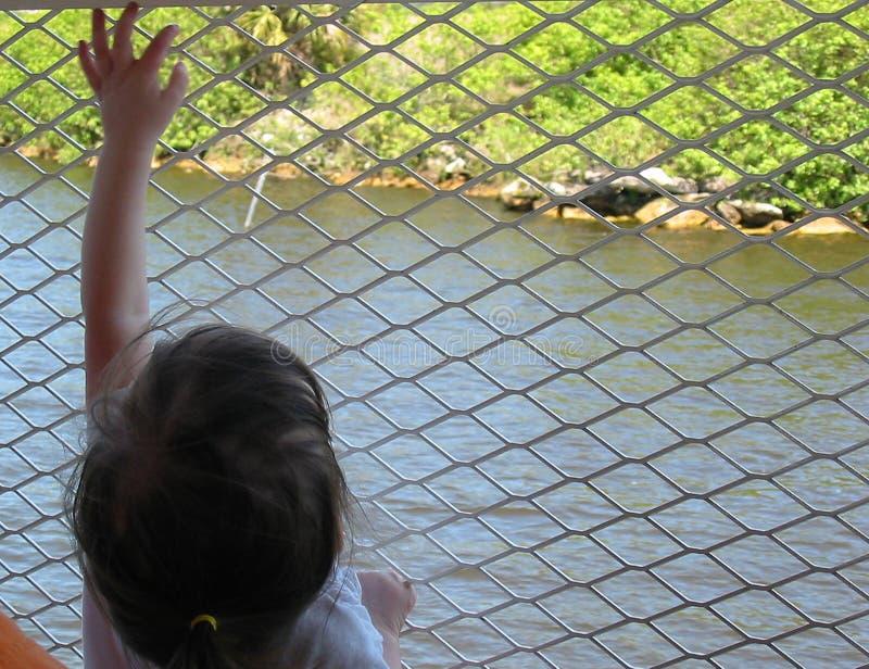 Muchacha que alcanza en la cerca foto de archivo libre de regalías