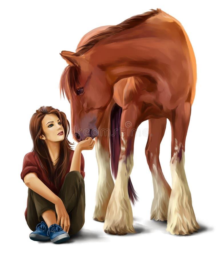 Muchacha que alimenta una pintura de la acuarela del caballo stock de ilustración