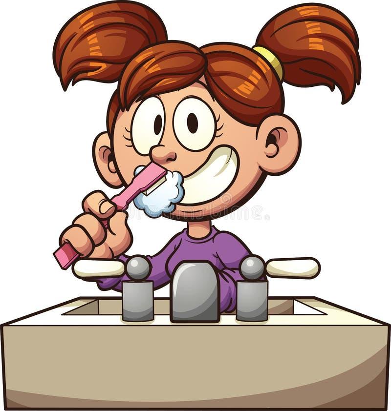 Muchacha que aplica sus dientes con brocha stock de ilustración