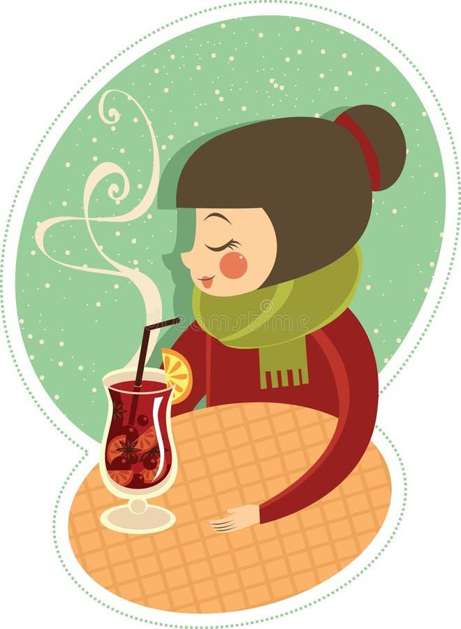 Muchacha que bebe el vino caliente stock de ilustración