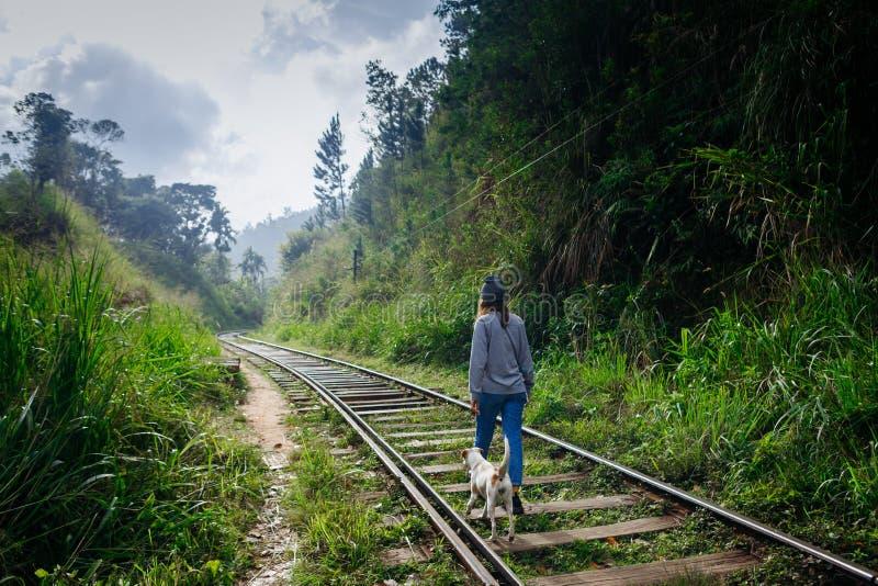 Muchacha que camina con el perro en manera del tren Viaje de la aventura foto de archivo
