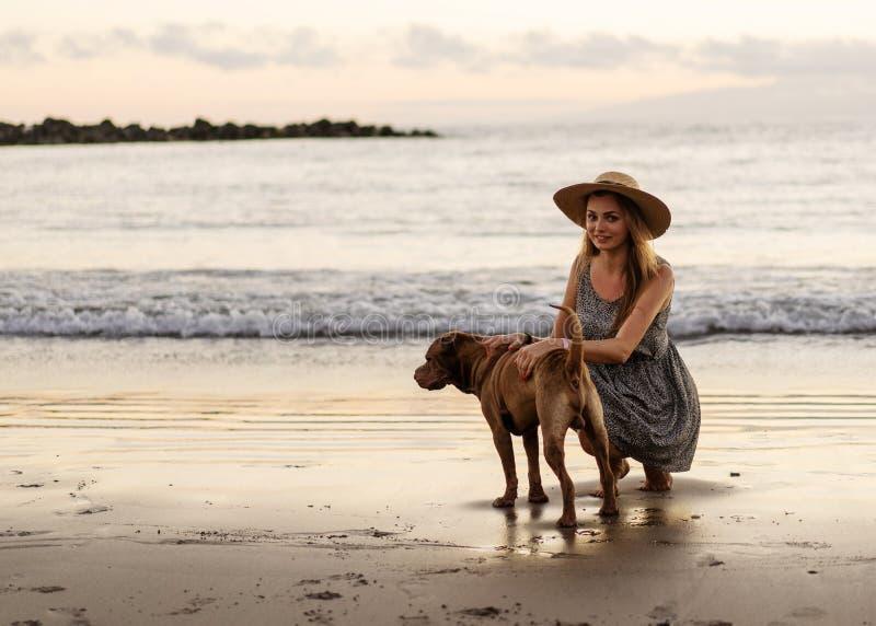 Muchacha que camina en la playa en la puesta del sol con un perro foto de archivo libre de regalías