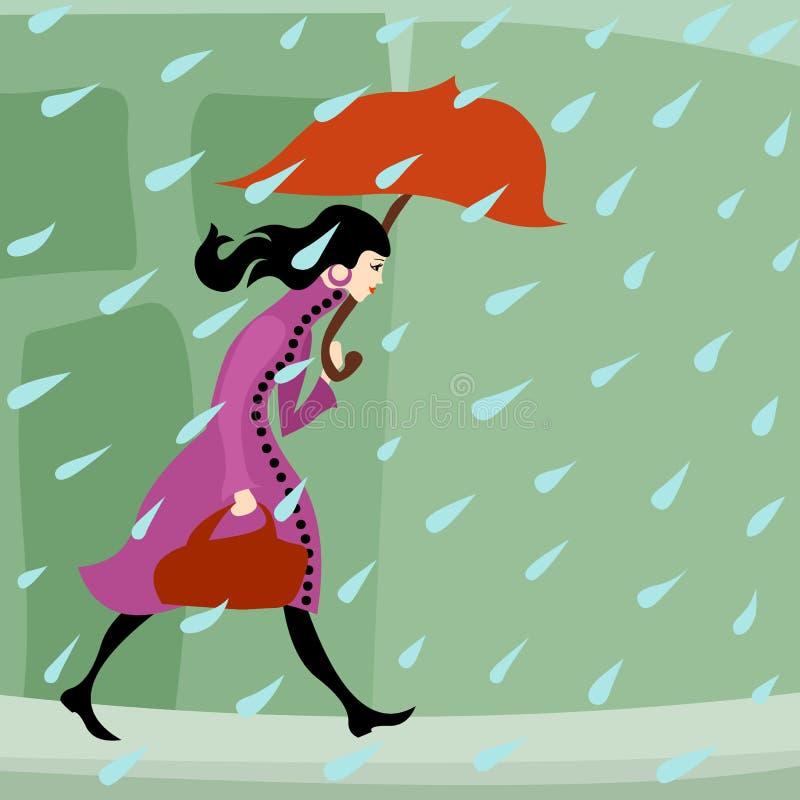 Muchacha que camina en lluvia stock de ilustración