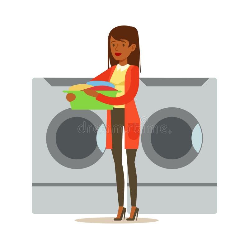 Muchacha que carga el lavadero sucio, parte de gente que usa las lavadoras automáticas de la lavandería del autoservicio del vect ilustración del vector