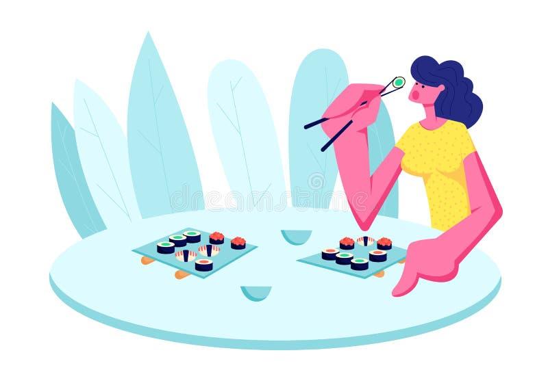 Muchacha que come el sushi en restaurante Carácter femenino feliz joven que sostiene los palillos que se sientan en la tabla con  stock de ilustración