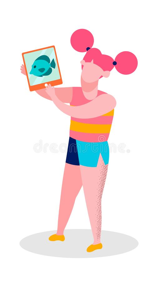 Muchacha que comparte impresiones de la excursión del acuario del viaje libre illustration