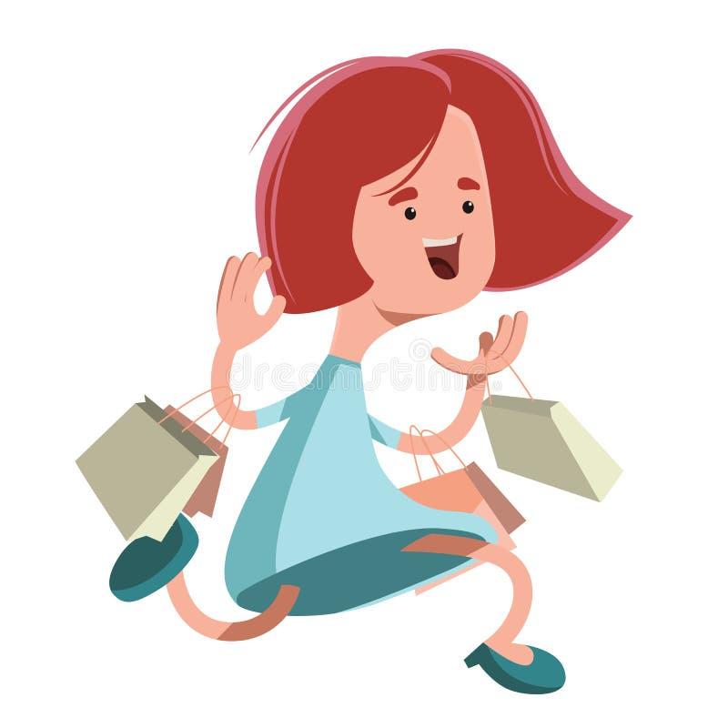 Muchacha que corre con el personaje de dibujos animados del ejemplo de los panieres ilustración del vector