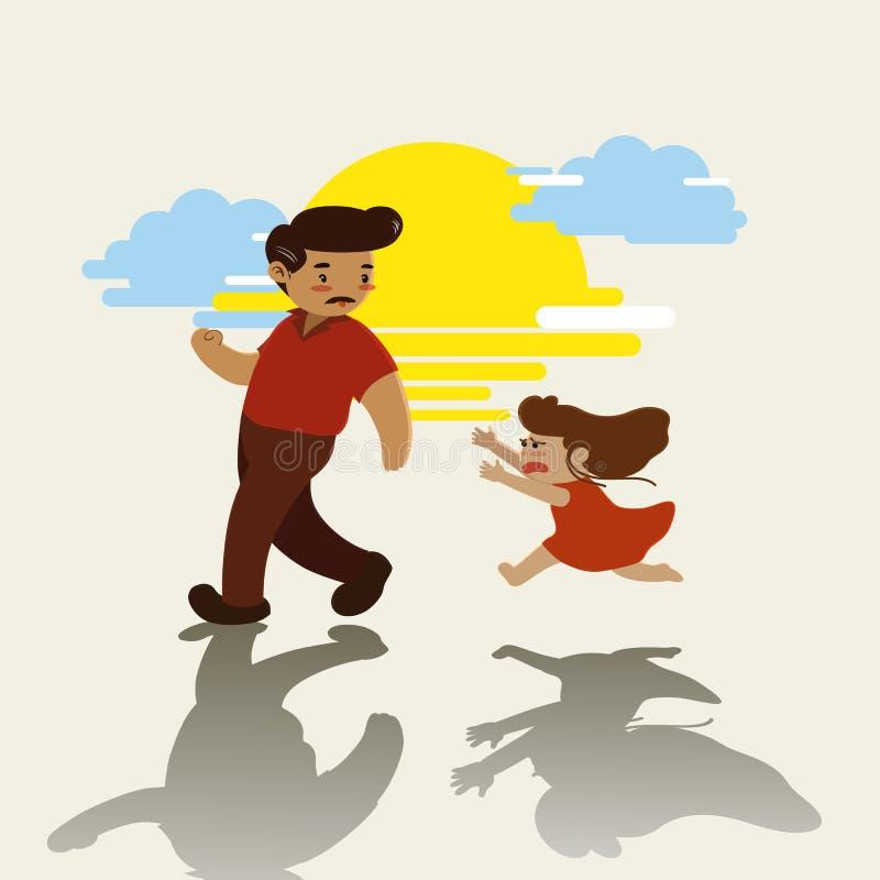 Muchacha que corre y que llora después de su padre en la puesta del sol stock de ilustración