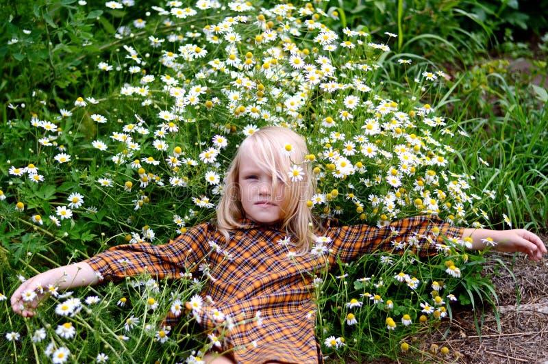 Muchacha que descansa sobre un día de verano imágenes de archivo libres de regalías