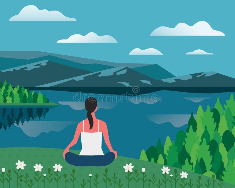 Muchacha que ejercita yoga en vector plano del color de la naturaleza stock de ilustración
