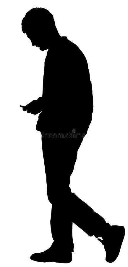 Muchacha que espera del muchacho triste en el ejemplo de la silueta del vector de la fecha aislado en blanco Solamente hombre en  ilustración del vector
