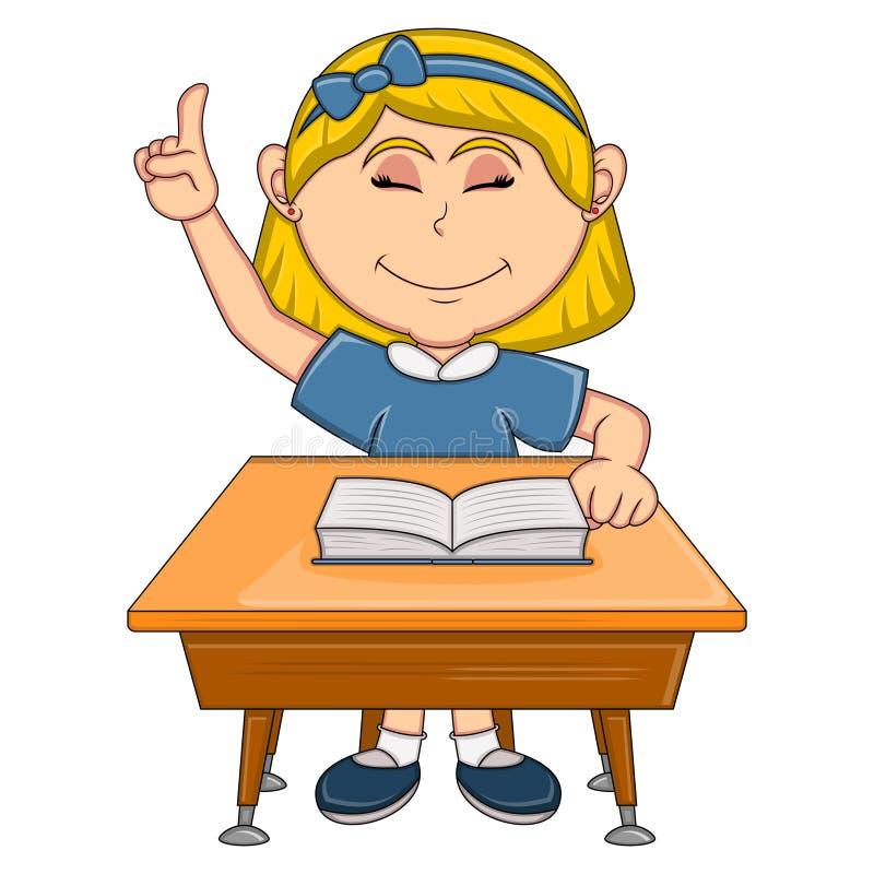 Muchacha que estudia con la historieta de la tabla de la escuela libre illustration