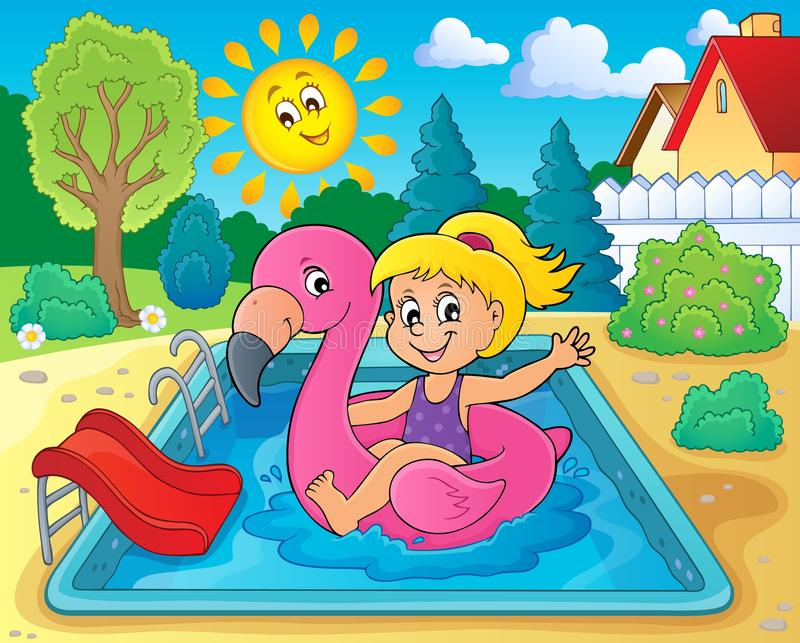 Muchacha que flota en el flamenco inflable 2 libre illustration
