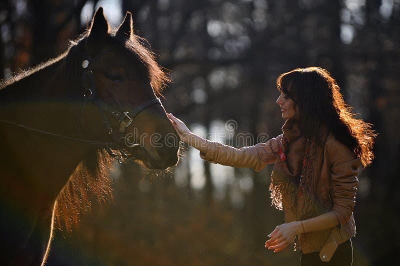 Muchacha que frota ligeramente el caballo fotos de archivo libres de regalías