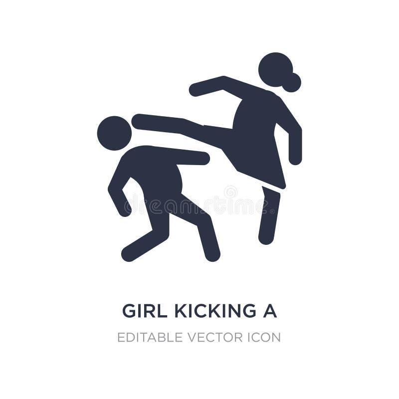 muchacha que golpea a un muchacho con el pie en el icono de la cara en el fondo blanco Ejemplo simple del elemento del concepto d ilustración del vector