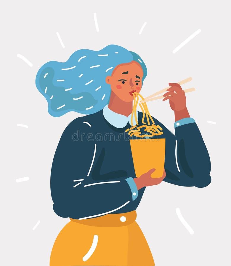 Muchacha que goza de sus tallarines de ramen con el palillo libre illustration