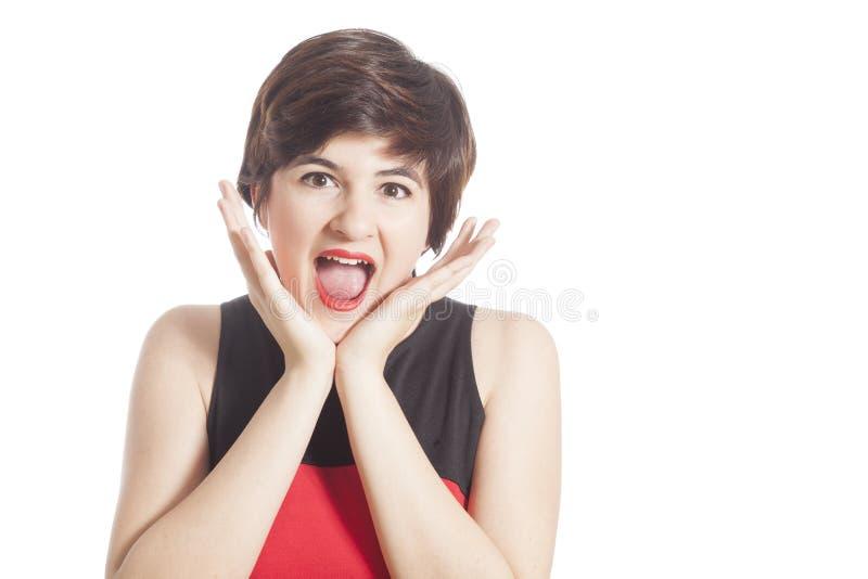 Muchacha que grita en blanco fotografía de archivo
