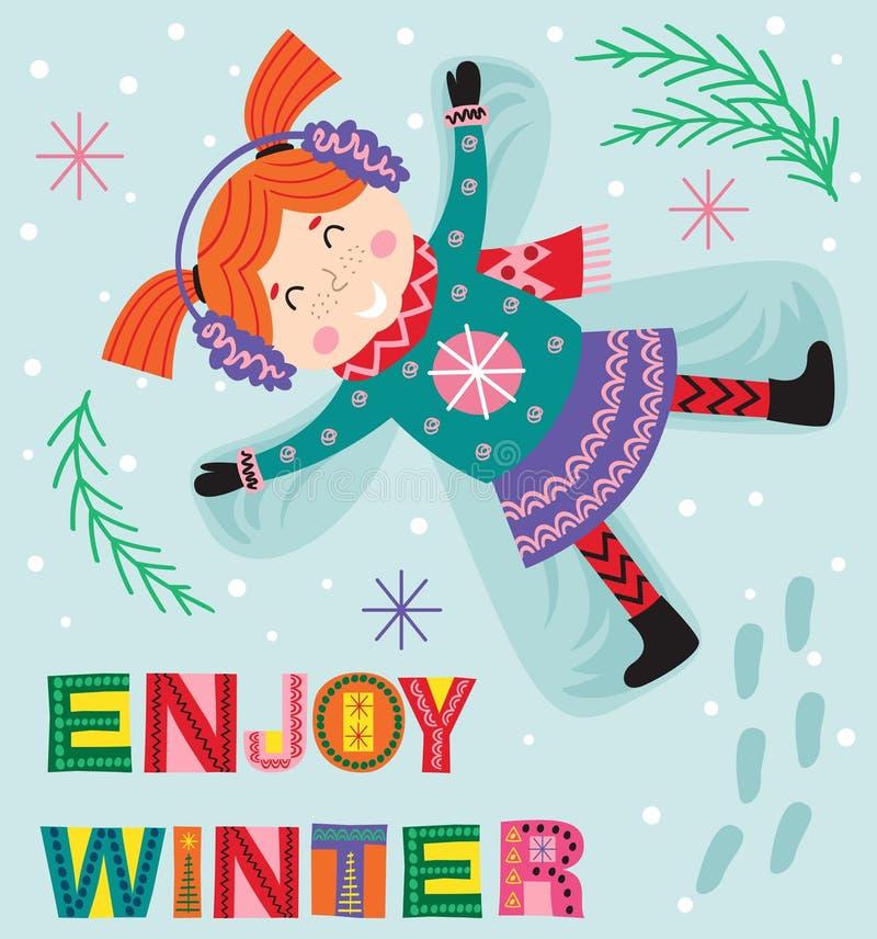 Muchacha que hace ángel en la nieve libre illustration