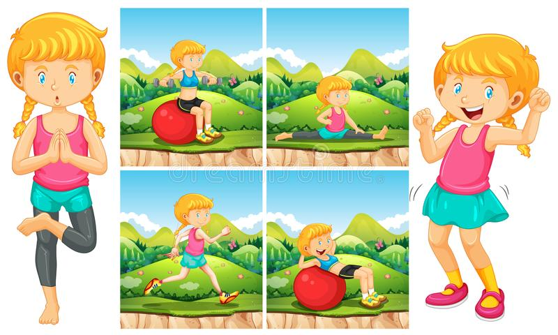 Muchacha que hace ejercicios en parque ilustración del vector