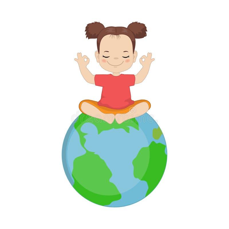 Muchacha que hace yoga stock de ilustración
