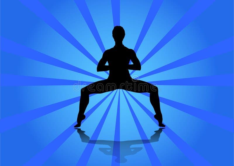 Muchacha que hace yoga Chica joven que hace yoga en fondo abstracto stock de ilustración