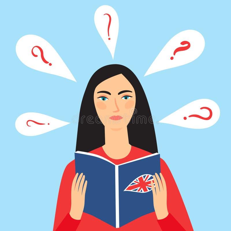 Muchacha que intenta estudiar lengua inglesa ilustración del vector