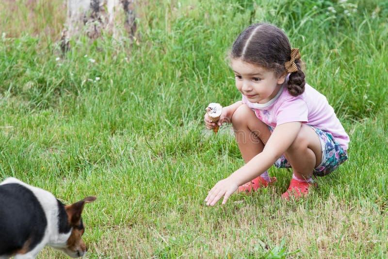Muchacha que juega con el perro al aire libre foto de archivo