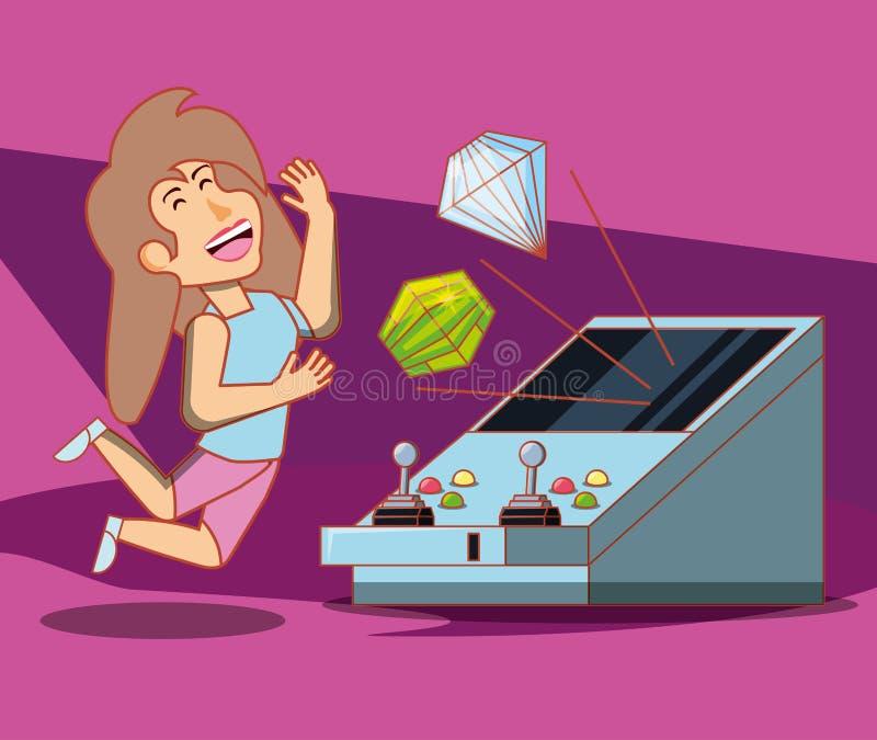 Muchacha que juega con la consola del videojuego stock de ilustración
