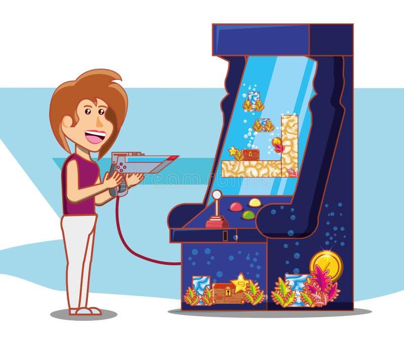Muchacha que juega con la consola del videojuego libre illustration