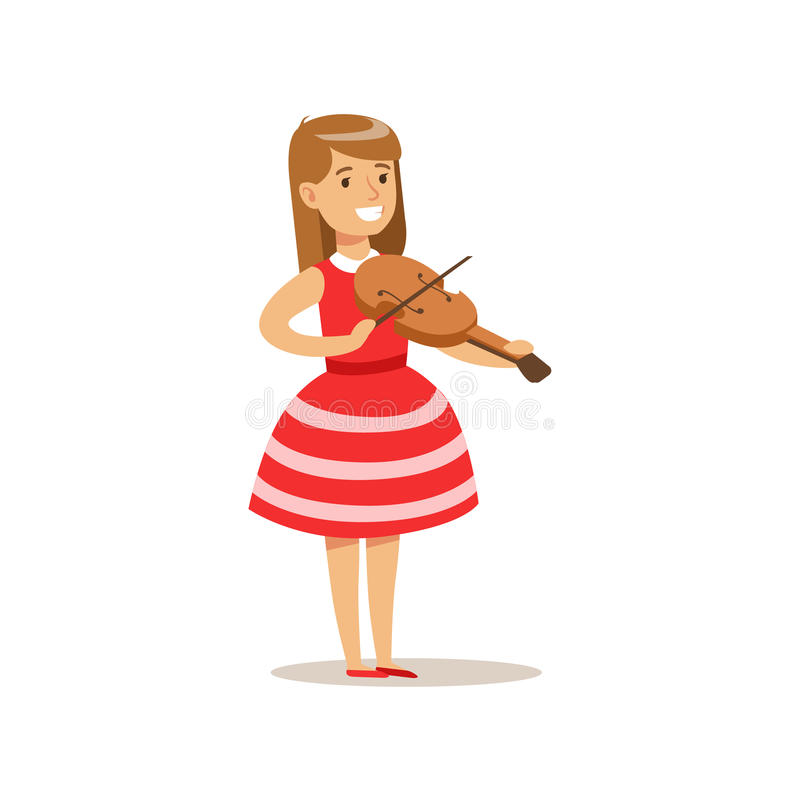 Muchacha que juega el violín, artes practicantes del niño creativo en Art Class, niños y el ejemplo temático de la creatividad ilustración del vector