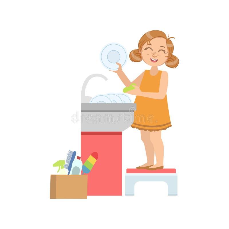 Muchacha que lava los platos en golpecito ilustración del vector