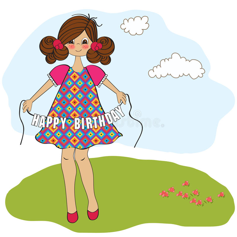 muchacha que le desea feliz cumpleaños stock de ilustración