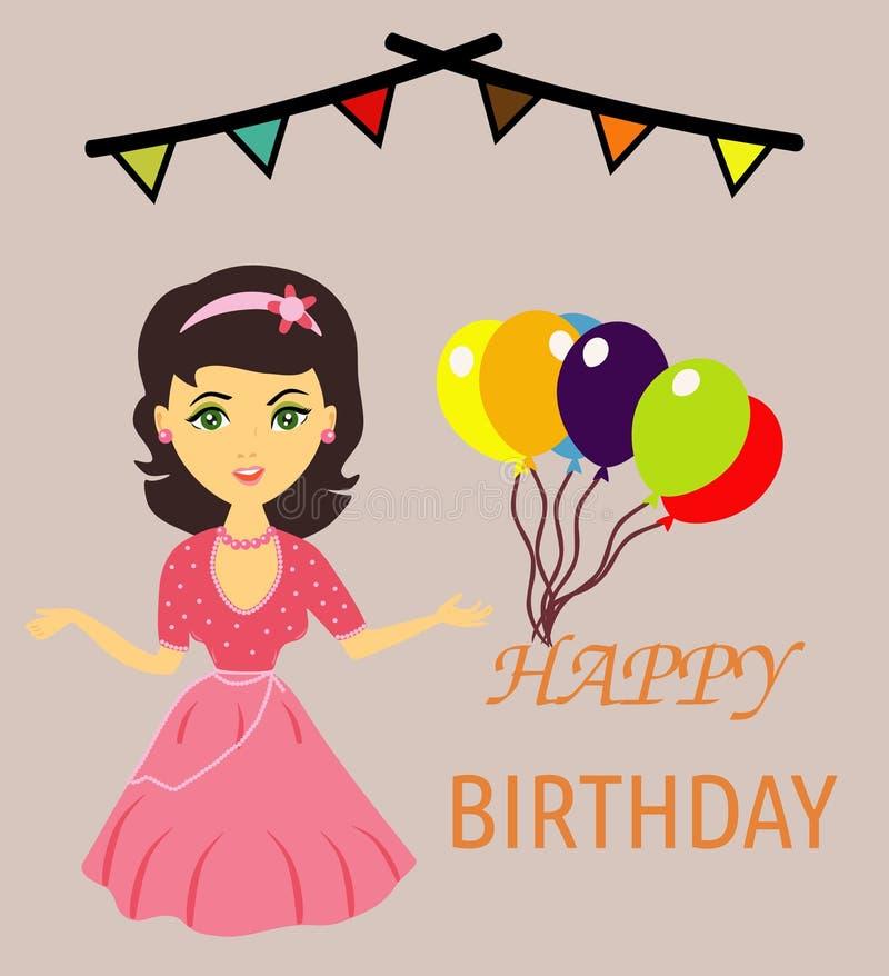 Muchacha que le desea un feliz cumpleaños ilustración del vector