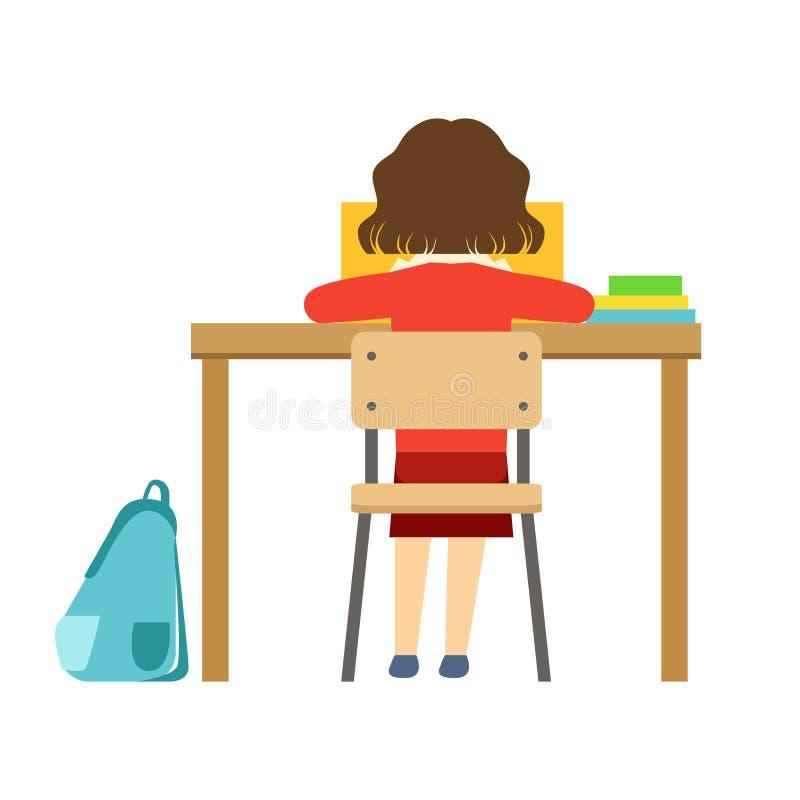 Muchacha que lee el libro que se sienta en el escritorio en sala de clase, la parte de la escuela y la serie de la vida del escol libre illustration