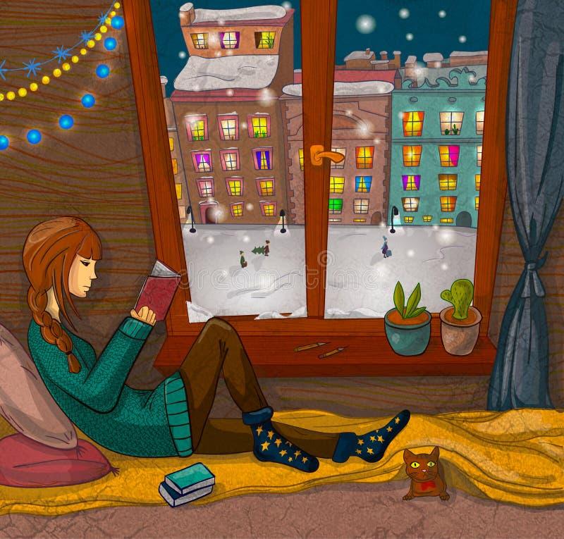 Muchacha que lee un libro cerca de la ventana libre illustration