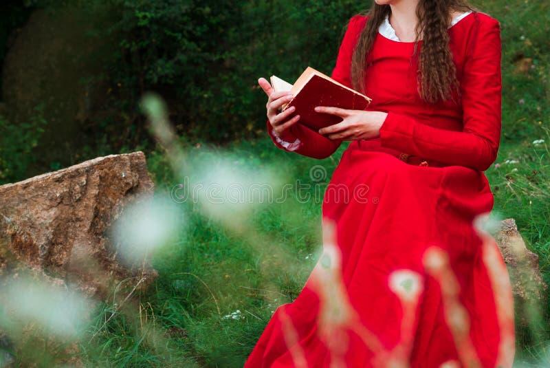Muchacha que lee un libro en el parque 3 imagen de archivo libre de regalías