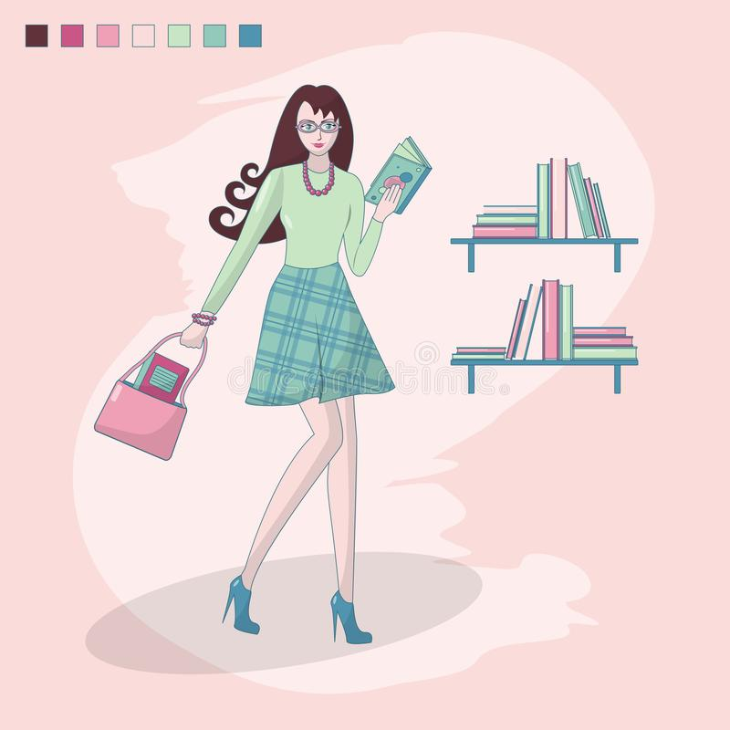 Muchacha que lee un libro y un estante con los libros Librer?a biblioteca Muchacha elegante con los vidrios estudio estudiante pr stock de ilustración