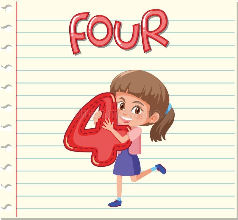 Muchacha que lleva a cabo el número 4 stock de ilustración