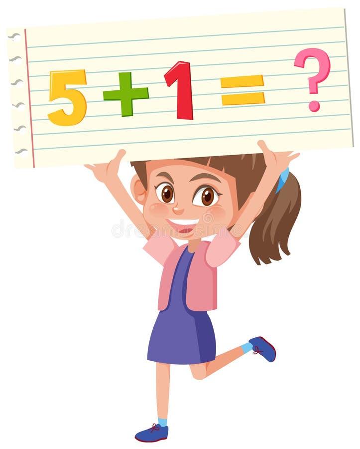 Muchacha que lleva a cabo el problema de matemáticas libre illustration
