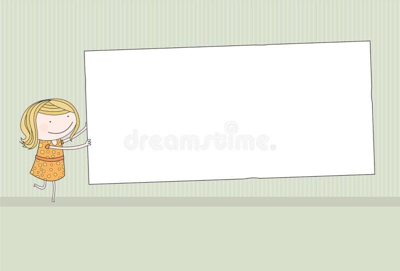 Muchacha que lleva a cabo a la tarjeta en blanco fotografía de archivo