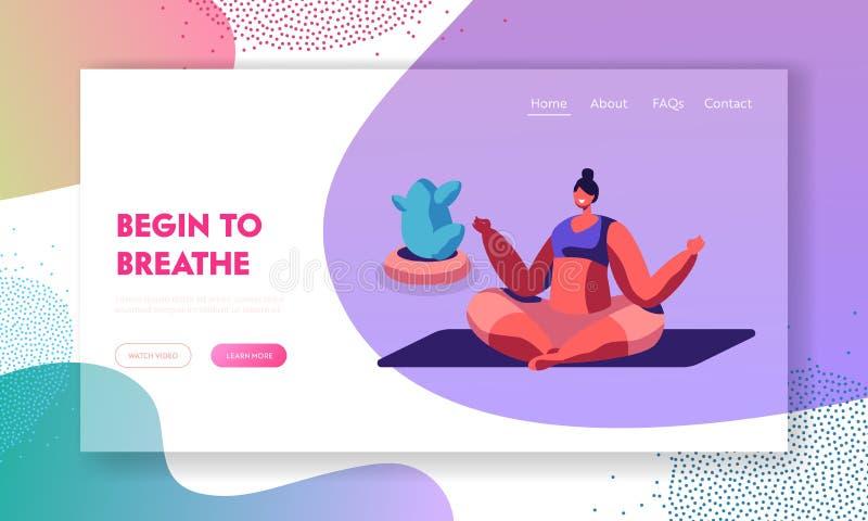 Muchacha que medita la sentada en Lotus Pose Doing Yoga Asana o el ejercicio de los aeróbicos, actividad de la vida del deporte,  libre illustration