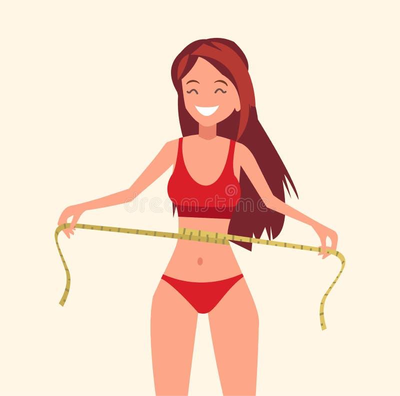 Muchacha que mide su pérdida de la corrección y de peso de la cintura Ilustración del vector libre illustration