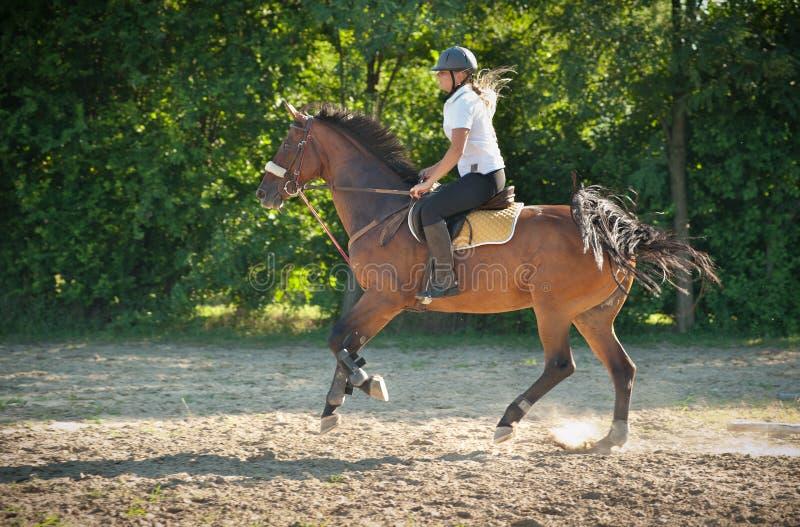 Muchacha que monta un caballo fotos de archivo