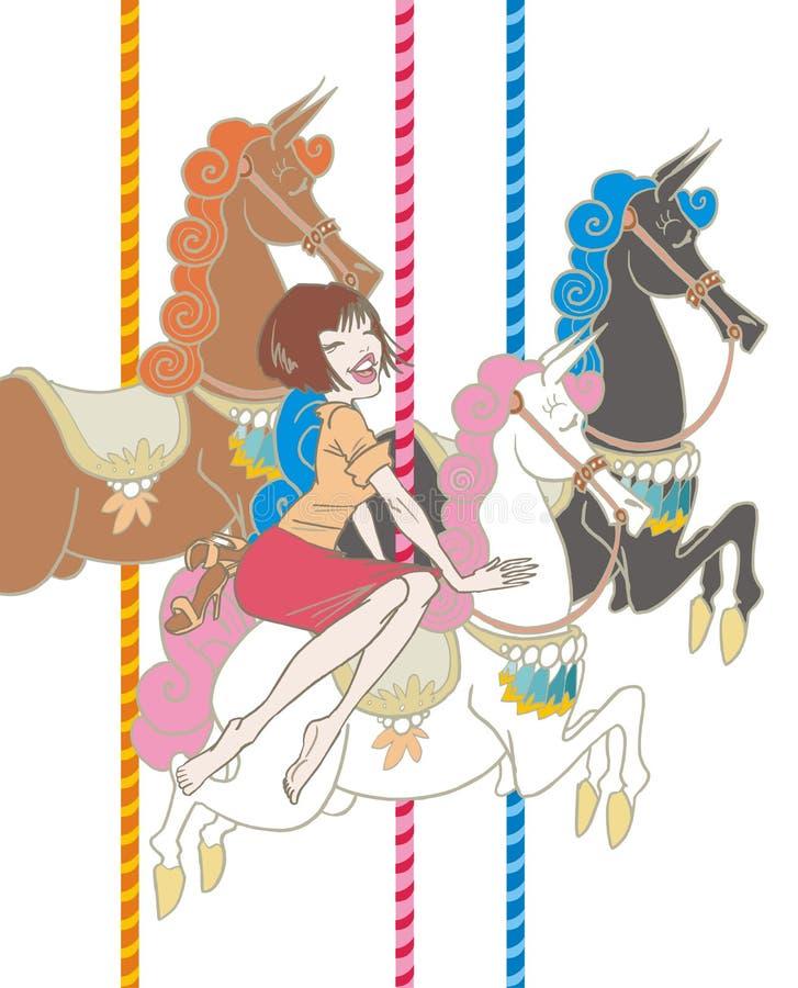 Muchacha que monta un carrusel stock de ilustración