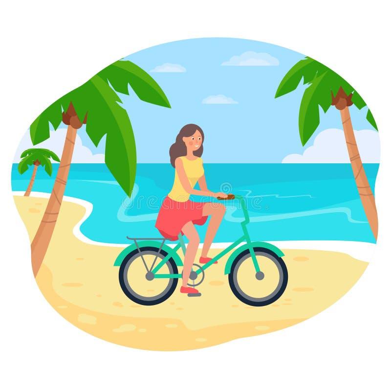 Muchacha que monta una bici en la playa ilustración del vector